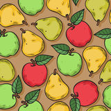 Apples and pears seamless pattern. Stock Photos