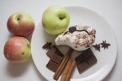 Apples, pears and tiramisu Royalty Free Stock Images