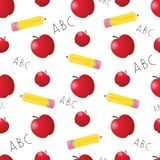 Apples and Pencils Seamless Tile Royalty Free Stock Photos