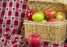 Apples in picnic basket Stock Image