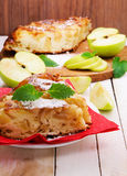 Apples pie and mint leaves Stock Photo