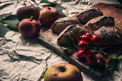 Apples and pies royalty free stock photo
