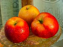 Apples on a platter stock photography