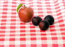 Apples and plum. On tablecloth Royalty Free Stock Photos