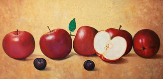 Apples and plums. Five and half apples and two plums original oil painting on canvas, amazing still life painting Stock Photos