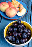 Apples and plums Stock Photo