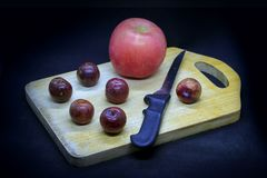 Apples and plums. Are good for health, images are fine in the culinary press and decorating the dining room Royalty Free Stock Photography
