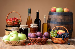 Apples, plums, grapes, rosehips and jam Royalty Free Stock Images
