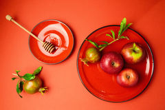 Apples and pomegranate on red background. View from above Royalty Free Stock Photography