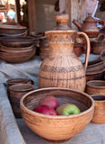 Apples on Pottery dish Stock Images