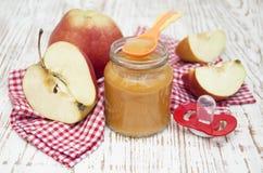 Apples puree in jar Stock Image