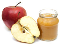 Apples puree in jar Stock Photo