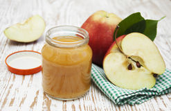 Apples puree in jar Royalty Free Stock Image