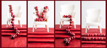 scenographic red apples collage in white chair Royalty Free Stock Image