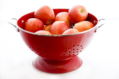 Apples in a Red Colander Stock Photo