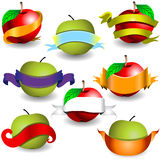 Apples with ribbon banners Stock Images
