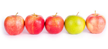 Apples in a row. Red apples with the one green Stock Photos