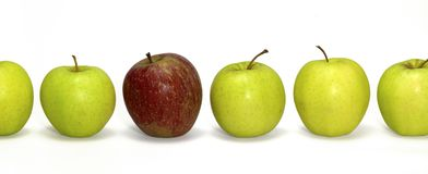Apples in a row Royalty Free Stock Photos