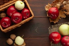Apples on the rustic wooden table royalty free stock photos