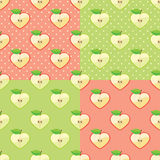 Apples in seamless pattern with polka dot. Apple halves heart shaped on the polka dot background .Seamless pattern set.Retro style. Cartoon  ornament, background Royalty Free Stock Photos