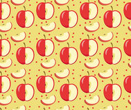 Apples seamless pattern. Red Apple endless background, texture. Fruits background. Vector illustration. Royalty Free Stock Image