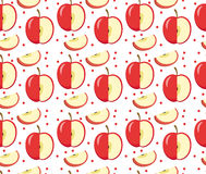 Apples seamless pattern. Red Apple endless background, texture. Fruits . Royalty Free Stock Photo