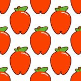 Apples. Seamless pattern with red apples on white. Fruit background Flat design Vector Illustration. EPS stock illustration