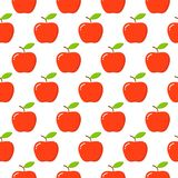Apples. Seamless pattern with red apples on white. Fruit background royalty free illustration