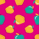 Apples seamless pattern. Seamless pattern. With gold apples on pink background. Fruit background. Apple pattern royalty free illustration