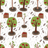 Apples Seamless Pattern. Apples Seamless Vector Pattern. Apple  trees background Stock Photography
