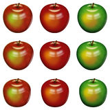 Apples. Set of computer graphics with nine apples. In three shapes and three color version.   on the white background Royalty Free Stock Photos