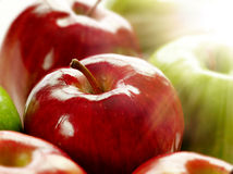 Apples with shining sunlight Stock Photography