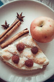 Apples and slice of cottage cheese quiche. Delicious cottage cheese quiche on plate Stock Image
