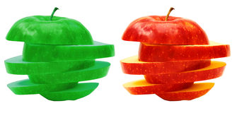 Apples sliced sections. Fruit isolated on white background Royalty Free Stock Photos