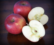 Apples, sliced and whole Stock Images