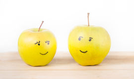 Apples smiling at each Stock Photography