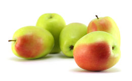 Apples. Some green-red fresh apples on white background royalty free stock images