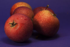 Apples. Some red apples laying on a table royalty free stock photography