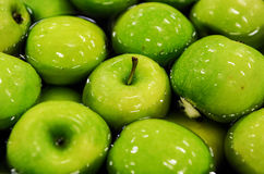 Apples sorting and packing. Green delicious apples in packing tub at fruit warehouse Stock Photo