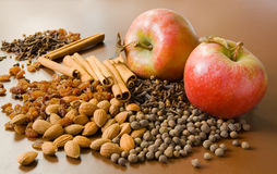 Apples and spices stock image