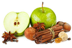 Apples and spices. stock images