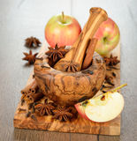Apples and spices Royalty Free Stock Images