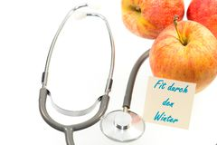 Apples and stethoscope Royalty Free Stock Photo