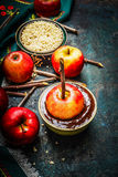 Apples on sticks with chocolate coating and  twigs on rustic wooden background Royalty Free Stock Photos
