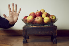Apples stop. Set of apple with stop hand Stock Image