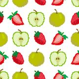Apples and strawberries seamless pattern. Pixel Embroidery. Square. Vector royalty free illustration