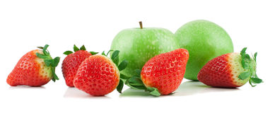 Apples and strawberry. Fresh apples and strawberry   on a white background Stock Photo