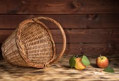 Apples on the table with a basket Stock Image