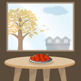 Apples on table by window. Vector illustration of vase with apples on table against window. EPS 10 Royalty Free Stock Photo