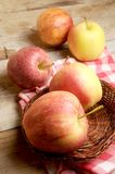 Apples on table wood kitchen surface Royalty Free Stock Image